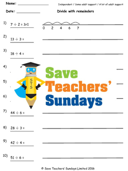 Division with remainders on number lines lesson plans, worksheets and more