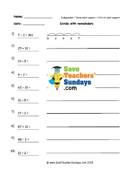 Division with remainders on number lines worksheets (3 lev