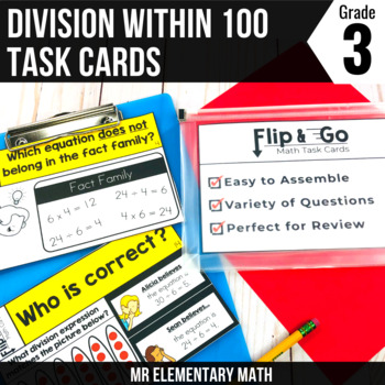 Division within 100 - 3rd Grade Math Flip and Go Cards