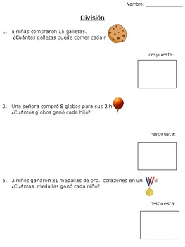 Division word problems- SPANISH