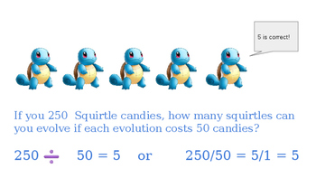 Division word problems with Pokemon Go character