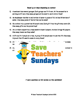 Division Word Problems with Remainders Lesson Plans, Works