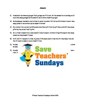 Division Word Problems with Remainders Worksheets (4 levels of difficulty)