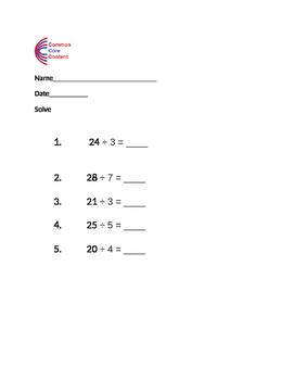 Division worksheet - Using multiplication to solve division
