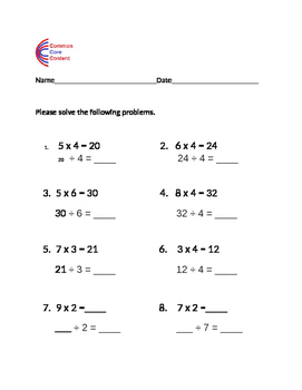 Division worksheet - Using multiplication to solve division