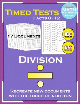 Division Timed Tests (Facts 0-12) - Automatic Generator