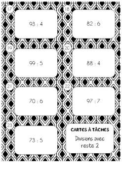 Cartes à tâches - Divisions avec reste - 2