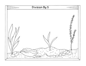 Divison Facts Practice Math Activity Bulletin Board PDF Printable Aquarium Fish