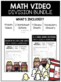 Divison Math Video and Worksheet Bundle