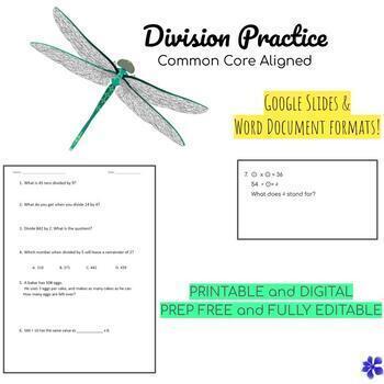 Division Practice - common core aligned