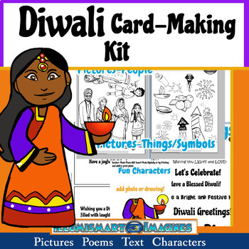 Diwali Card-Making Kit! Poems, Pictures, Text, & Instant Character!