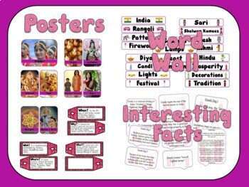 Diwali Celebration Bundle Posters, Word Wall, Student Workbook