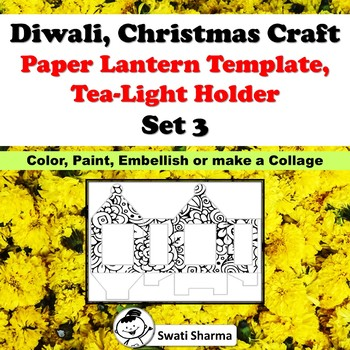 Diwali, Christmas Craft, Paper Lantern Template, T-Light Holder, Set 3