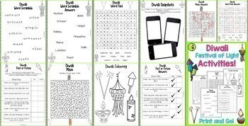 Diwali Festival of Lights BUNDLE Reading Comprehension, Activities and Bunting