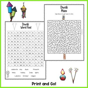 Diwali Festival of Lights Print and Go Literacy Activity Pack