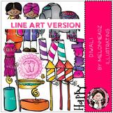 Diwali clip art - LINE ART- by Melonheadz