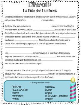 Diwali: La Fête des Lumières (Festival of Lights) - French Immersion Printable