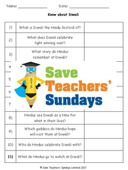 Diwali Lesson plan and Worksheets / Activity