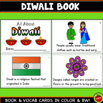 Diwali Mini Book And Vocabulary/Wall Cards