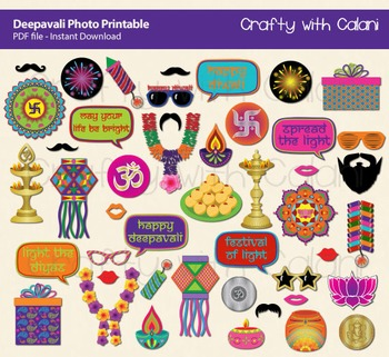 Diwali Photo Booth Prop, Indian Festival Of Light Party Printable