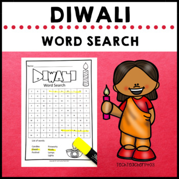 Diwali Word Search - have fun while consolidating learning $1 DEAL
