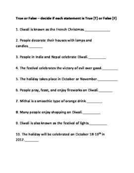 Diwali - festival of lights informational article review facts questions