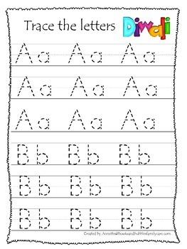 Diwali themed A-Z Tracing preschool activity worksheets.  Preschool writing.