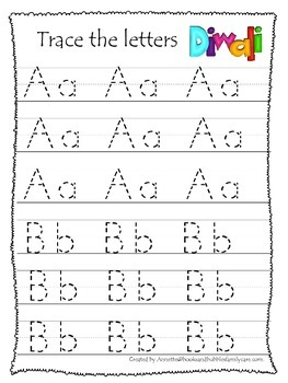 Diwali themed A-Z Tracing preschool activity worksheets.