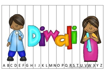 Diwali themed Alphabet Sequence Puzzle preschool learning game.  Daycare.