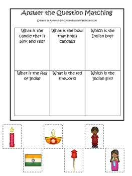 Diwali themed Answer the Question preschool learning game.  Daycare game.