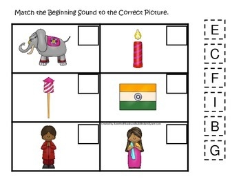 Diwali themed Match the Beginning Sound preschool learning game.  Daycare.