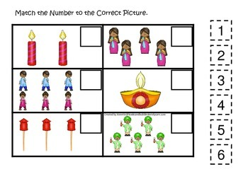 Diwali themed Match the Number preschool learning game.  Daycare game.