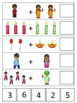 Diwali themed Math Addition preschool learning activity.  Daycare curriculum.