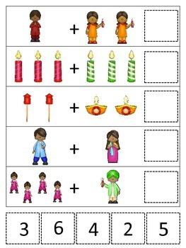 Diwali themed Math Addition preschool learning activity.  Daycare curriculum.