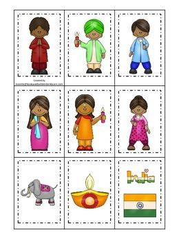 Diwali themed Memory Matching Cards preschool learning game.  Daycare.