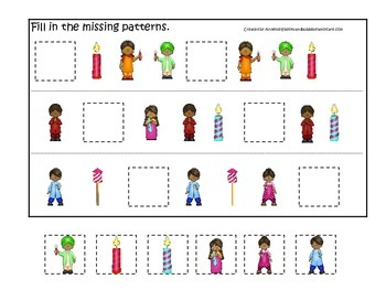 Diwali themed Missing Pattern preschool learning game.  Daycare game.