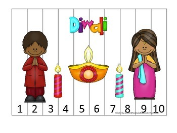 Diwali themed Number Puzzle 1-10 preschool learning activity.  Daycare curriculu