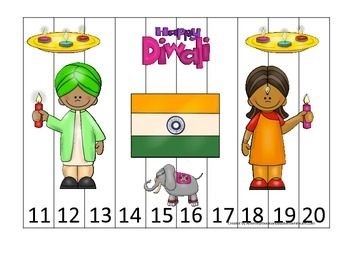 Diwali themed Number Puzzle 11-20 preschool learning activity.  Daycare curricul
