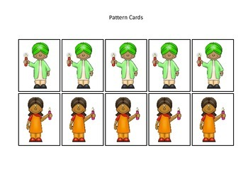 Diwali themed Pattern Cards #2 preschool learning activity.  Daycare curriculum.