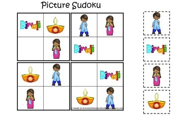 Diwali themed Picture Sudoku preschool learning activity.  Daycare curriculum.
