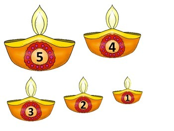 Diwali themed Size Sequencing preschool math learning game.  Daycare curriculum.