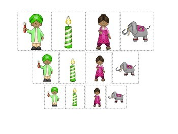 Diwali themed Size Sorting #3 preschool learning game.  Daycare curriculum.