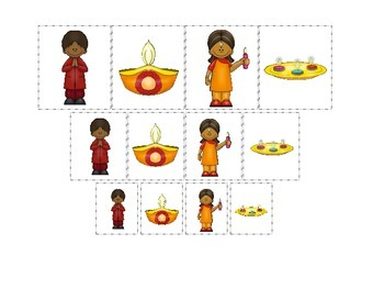 Diwali themed Size Sorting preschool learning game.  Daycare curriculum.