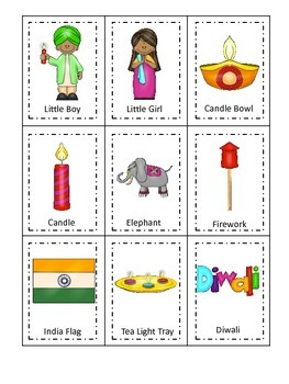 Diwali themed Three Part Matching preschool learning game.  Daycare game.