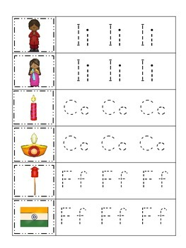 Diwali themed Trace the Letter preschool educational worksheet.  Daycare game.