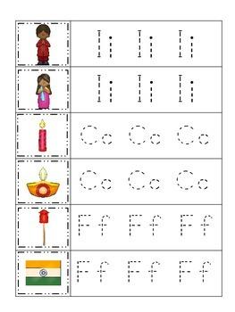 Diwali themed Trace the Letter preschool educational works