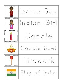 Diwali themed Trace the Word preschool educational worksheet.  Daycare game.