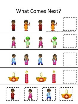 Diwali themed What Comes Next preschool learning game.  Daycare game.