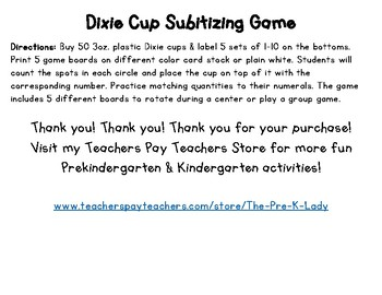 Dixie Cup Subitizing Game