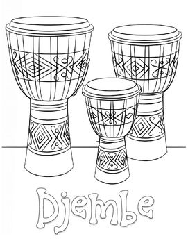 Djembe Coloring Sheet